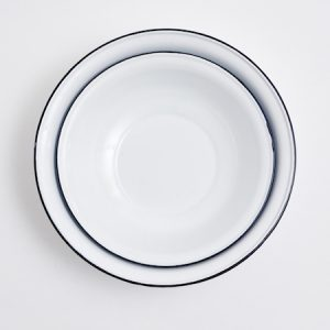 White Enameled Platters
