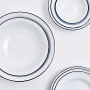 White Enamel Platter with Blue Rim5