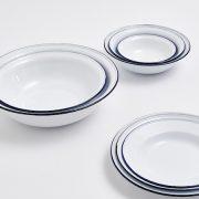White Enamel Bowl with Blue Rim4