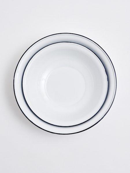 White Enameled Platters