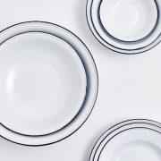 White Enamel Platter with Blue Rim5